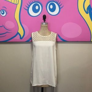 ONLY Cream Lace Insert Sleeveless Blouse NWT